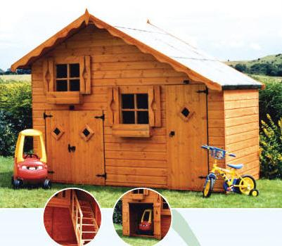 wooden playhouse with garage childrens playhouse playhouses quality tongued and grooved